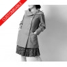 Straight coat with statement collar, gathered sleeves- CUSTOM HANDMADE