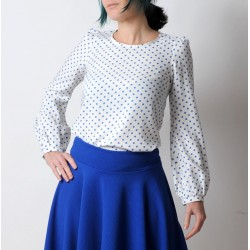 White and blue polka dot blouse with long sleeves, vintage cotton