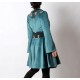 Flared blue velvet coat for women with green floral details