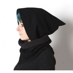 Cowl with removable Goblin Hood - Black wool