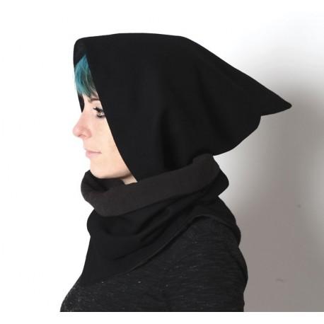 Col à Capuche lutin amovible - Lainage noir
