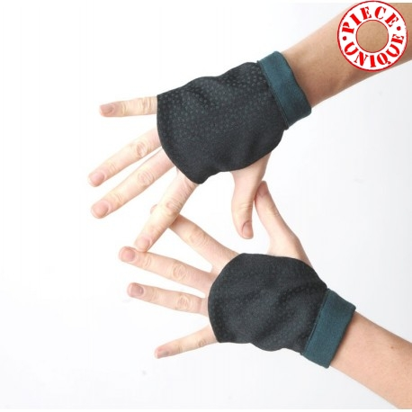 Black wool fingerless gauntlets with green dots