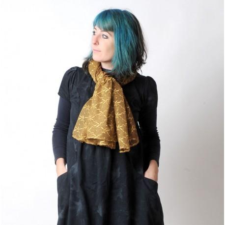 Echarpe ou étole dentelle bronze doré jeune créatrice achat en ligne