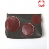 Khaki leather small pouch for cards or coins, dark red circles