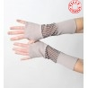 Beige and checkered patchwork armwarmers in jersey and mesh