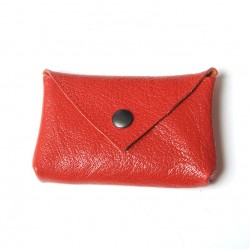 Red varnished leather small pouch for cards or coins