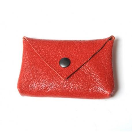 Porte-carte ou porte-monnaie en cuir rouge jeune créateur français original