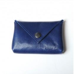 Porte-carte ou porte-monnaie en cuir bleu roi artisanale made in france