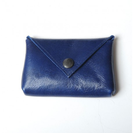 Bright blue varnished leather small pouch for cards or coins