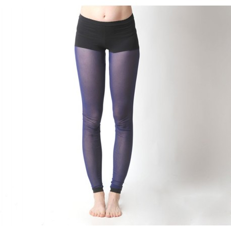 Blue mesh leggings, with black integrated panty