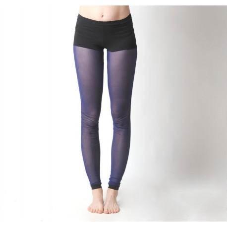Collants Leggings résille bleue et short noir intégré jeune créatrice française