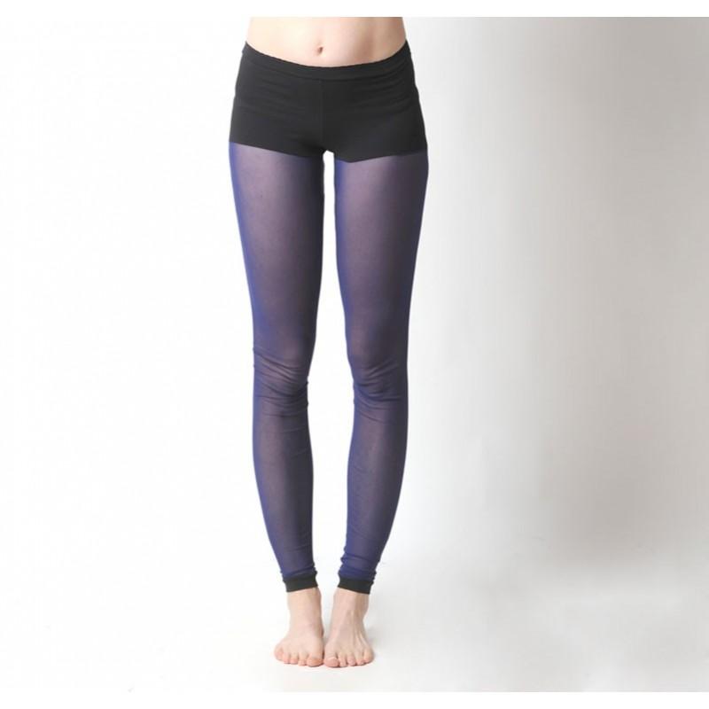 collants leggings r sille bleue et short noir int gr. Black Bedroom Furniture Sets. Home Design Ideas