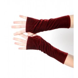 Long fingerless gloves in dark red stretchy velvet
