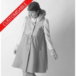 Manteau hiver forme trapèze à large capuche - PERSONNALISABLE