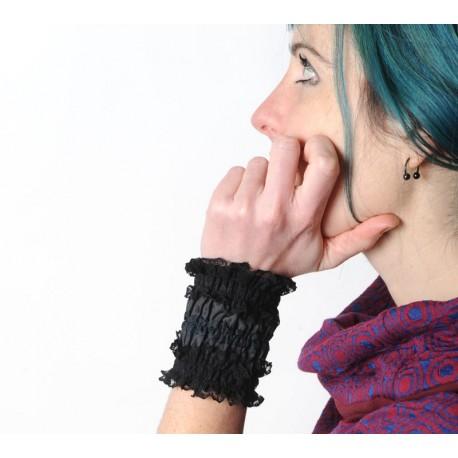 Manchettes élégantes longues noires à volant de dentelle, vetements originaux, idées cadeaux pour femmes