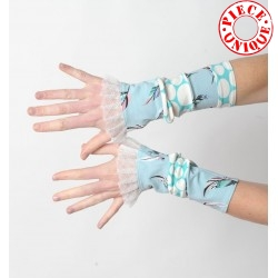 Lagoon blue and white patchwork jersey cuffs with mesh ruffles