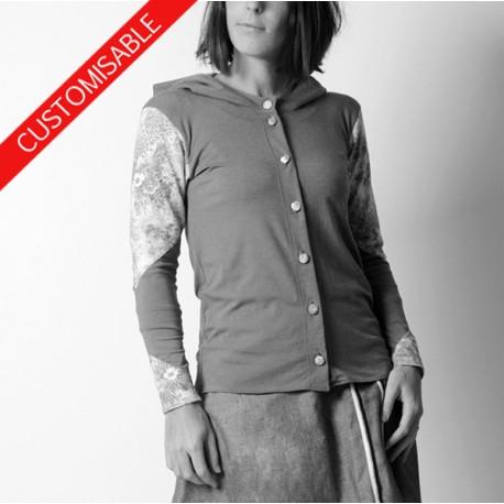 Hooded cardigan with long narrow sleeves - CUSTOM HANDMADE