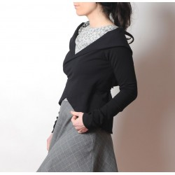 Black Chameleon cotton jersey wrap with long straight sleeves
