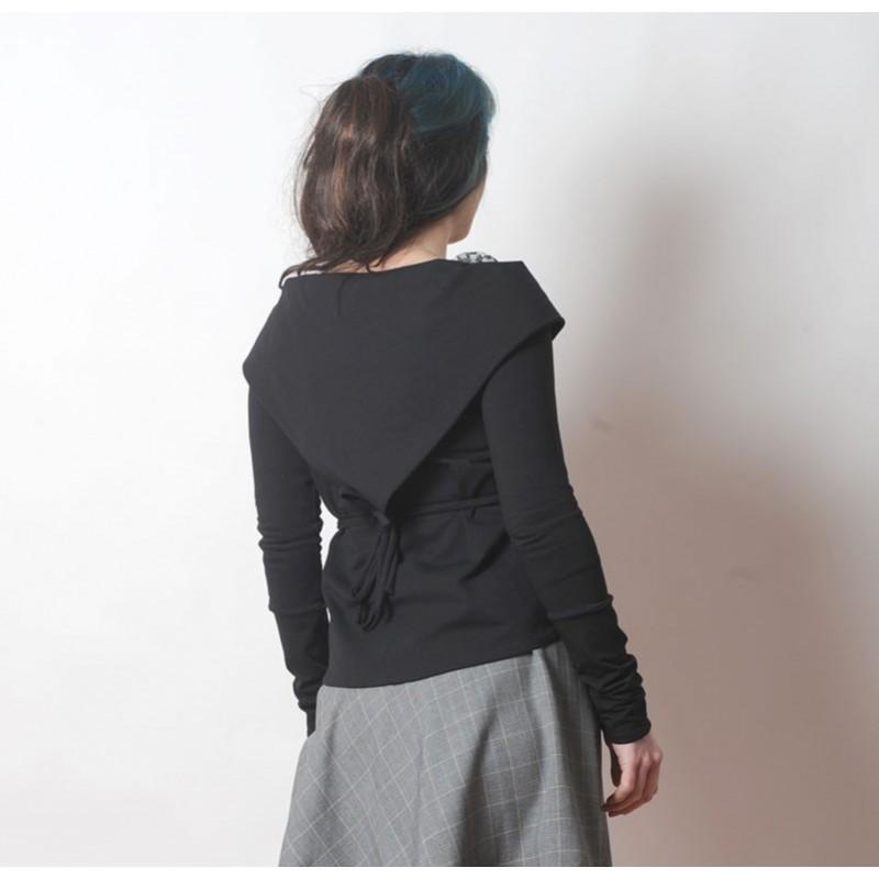gilet cache coeur femme en coton noir manches longues droites. Black Bedroom Furniture Sets. Home Design Ideas