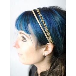 Accessoire coiffure doré, bandeau doré à double rang, accessoire mariage