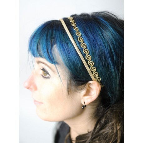 Golden wedding headband, handmade creation