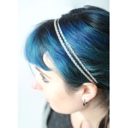 Double Silver thread headband with vintage trims