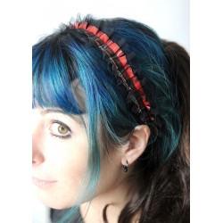 Headband écossais rouge et dentelle noire à volants froncés