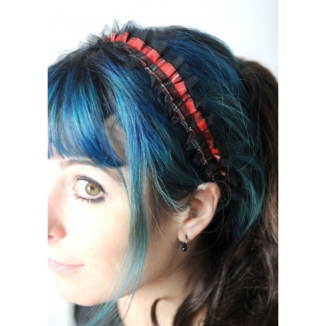 Red plaid and black lace headband in gathered ruffles