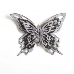 Broche papillon, cuir violet et noir