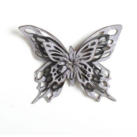 Broche papillon, idée cadeau pour femme cuir violet et noir