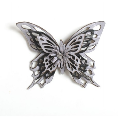 Purple and black leather butterfly brooch