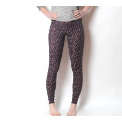 Black, grey, purple geometric print leggings