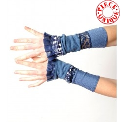 Stretchy light and dark blue patchwork jersey cuffs, pleather ruffles
