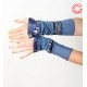 Stretchy blue patchwork jersey cuffs, pleather ruffles