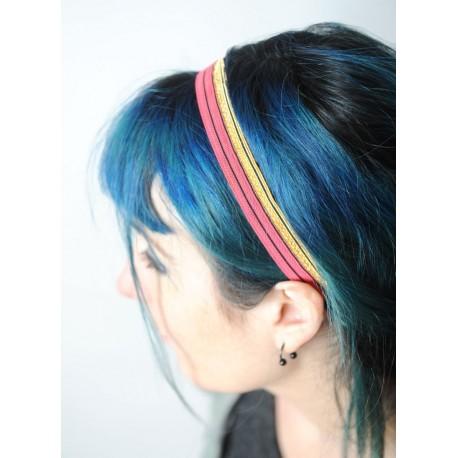 Headband en ruban galon rouge et doré, original, achat en ligne