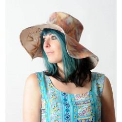 Orange tones floppy hat, vintage fabric and bird print cotton