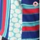 Top débardeur sans manches, tissu vintage rayé bleu vert rouge