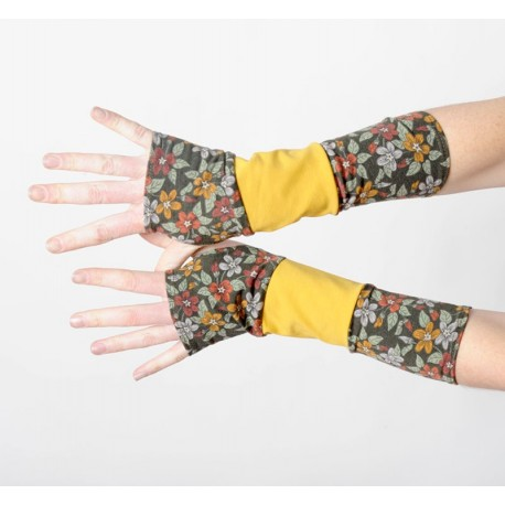 Floral armwarmers in a patchwork of khaki green and yellow jersey