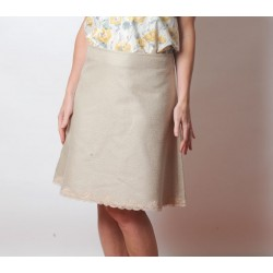 Textured beige trapeze skirt