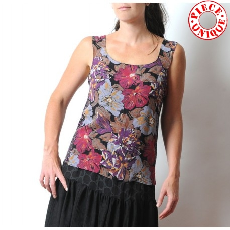 Purple, brown, black floral sleeveless tank top, vintage fabric