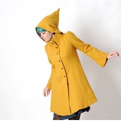 Mustard yellow winter Pixie coat with Goblin Hood in virgin wool