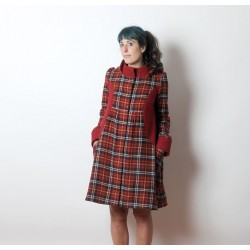 Red plaid winter coat with round hood
