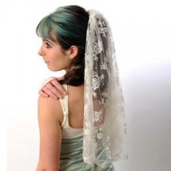 Demi-Voile mariée dentelle blanc cassé