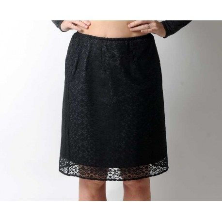 Short straight black lace skirt, elasticated waist