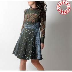 High waisted skirt with suspenders - green and blue stars and lace