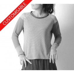Jersey patchwork top, raglan sleeves - CUSTOM HANDMADE