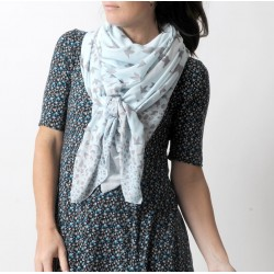 Wide bird print shawl scarf in beige and light blue