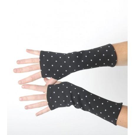 Mitaines longues idée cadeau noires en patchwork de jersey noir et résille étoilée fait main en france