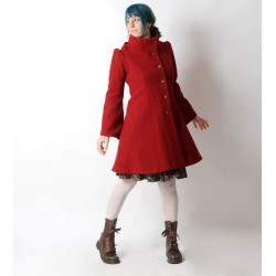 Red winter Pixie coat with Goblin Hood in virgin wool