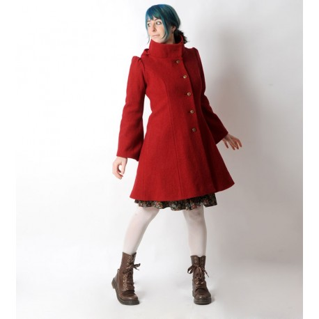 Red winter Pixie coat with Goblin Hood in virgin wool